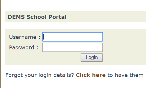 Schools portal login screen