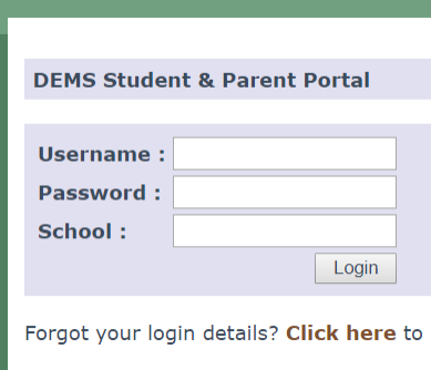 Student and parent portal login screen